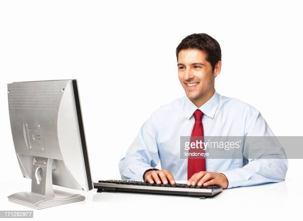 Business Executive Working On Computer - Isolated