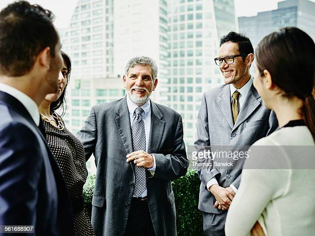 Business executives having meeting on terrace