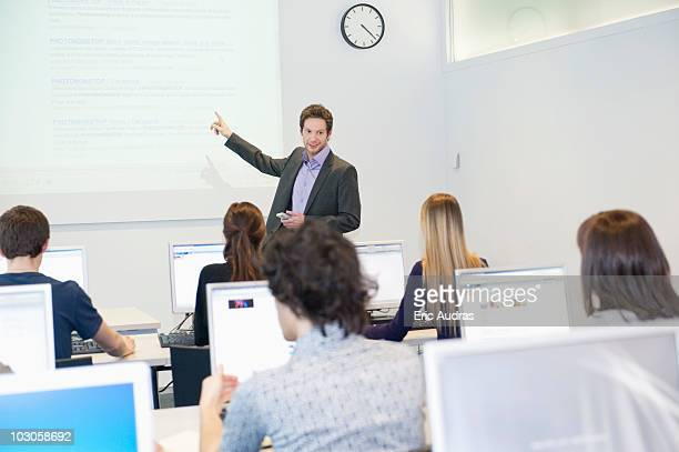 Business executives in a training class
