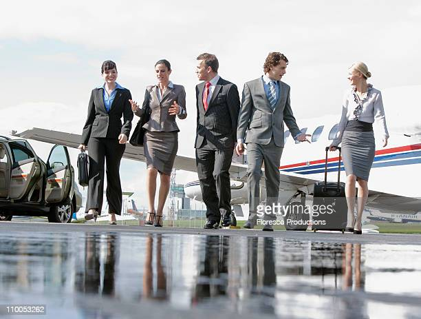 Business executives on the go