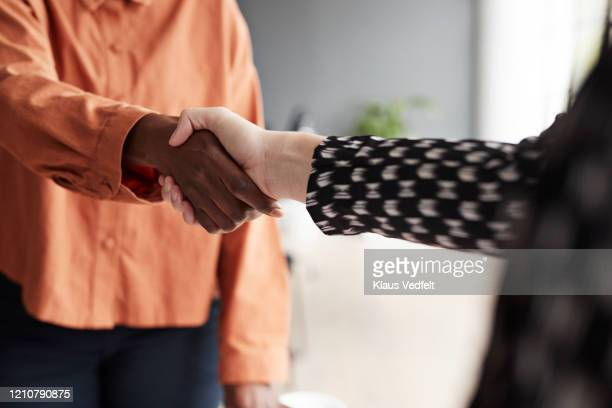 business executives shaking hands at workplace - handshake stock pictures, royalty-free photos & images