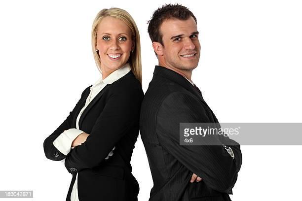 Les voyageurs d'affaires souriant