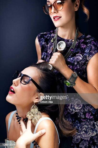 business fight - women being strangled stock photos and pictures
