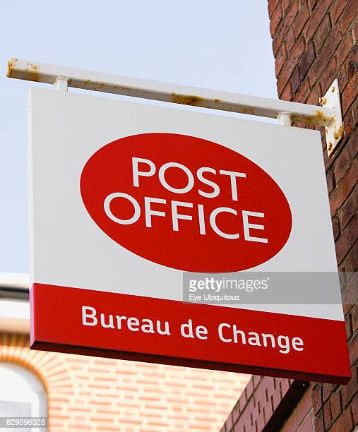 Business Finance Money Post Office Bureau de Change foreign exchange sign on the wall of a Post Office building