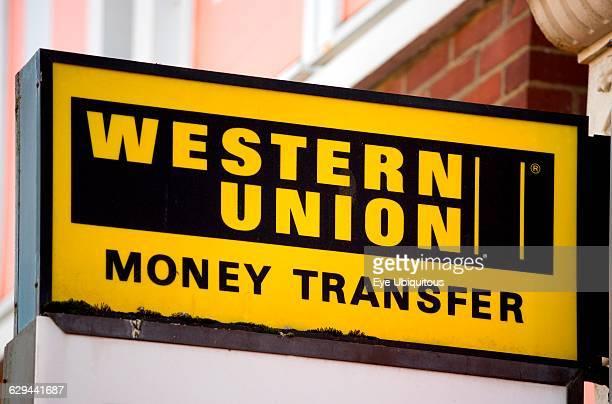Business Finance Money Western Union Money Transfer sign on a shop