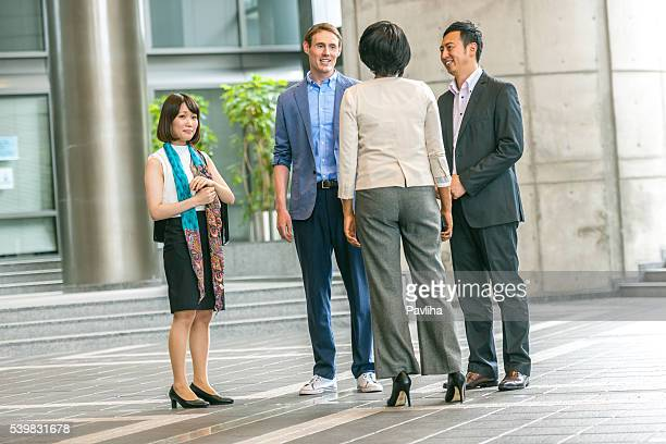 Business folk group talks in the business hall,Kyoto,Japan