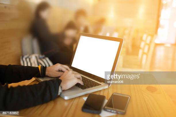 business girl working with modern devices, digital tablet computer and mobile smart phone