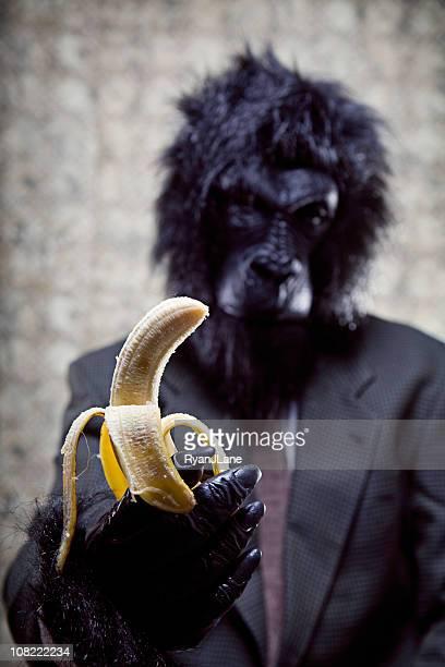 Business Gorilla Essen eine Banane
