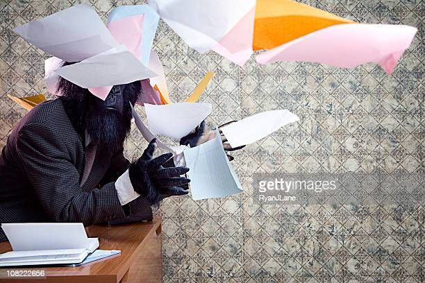 business gorilla in the office throwing paper - monkey suit stock pictures, royalty-free photos & images