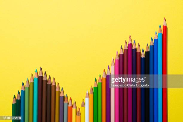business graph made with colored pencils - tempio pausania stock pictures, royalty-free photos & images