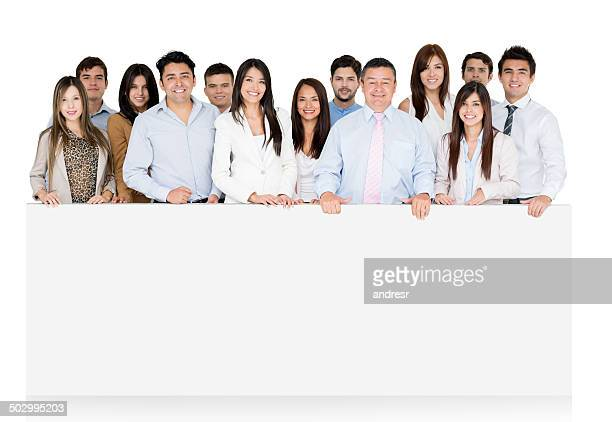 Business group behind a desk
