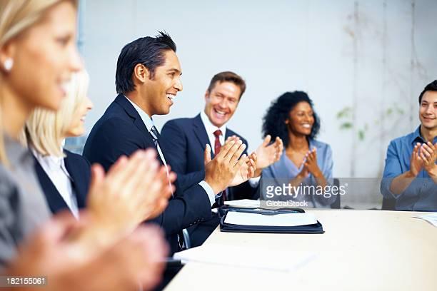 Business group congratulating