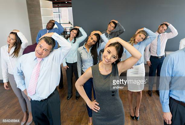 Business group in an active break