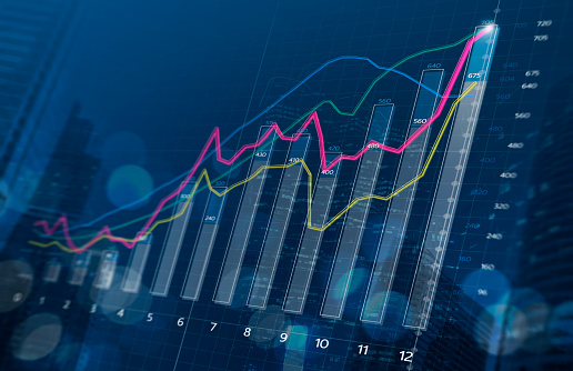 Business growth, progress or success concept. Financial bar chart and growing graphs with depth of field on dark blue background. 1090046326