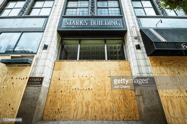 Business in Downtown Louisville sits fortified with plywood sheets on October 2, 2020 in Louisville, Kentucky. Kentucky Attorney General Daniel...