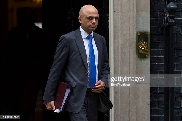 Business Innovation and Skills Secretary Sajid Javid departs Number 10 Downing Street after attending a cabinet meeting on March 8 2016 in London...