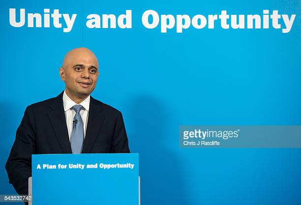 Business Innovations and Skills Secretary Sajid Javid speaks at a press conference for Work and Pensions Minister Stephen Crabb who announced his...