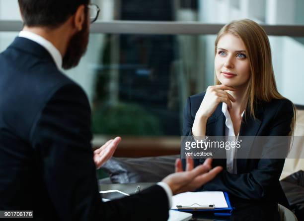 business interview - face to face stock pictures, royalty-free photos & images