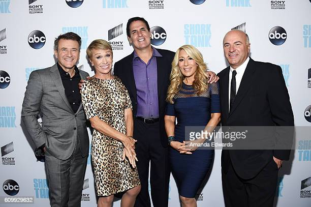 Business investors and television personalities Robert Herjavec Barbara Corcoran Mark Cuban Lori Greiner and Kevin O'Leary attend the Shark Tank...