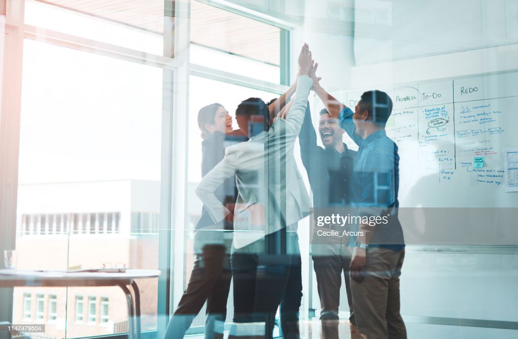 Business is winning when we stick together : Stock Photo