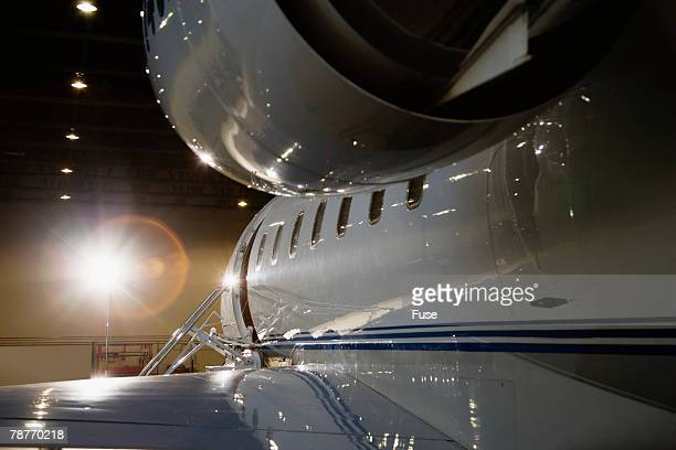 Business Jet Parked in Hangar