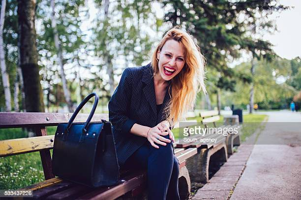 Business lady in the park