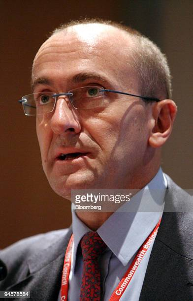 Business Leadership South Africa Chief Executive Officer Michael Spicer speaks during the China India Brazil and Africa Business Forum CIBA in Cape...
