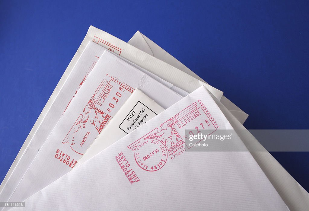 Business letters on blue background : Stock Photo