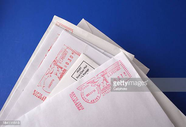 business letters on blue background - mail stock pictures, royalty-free photos & images