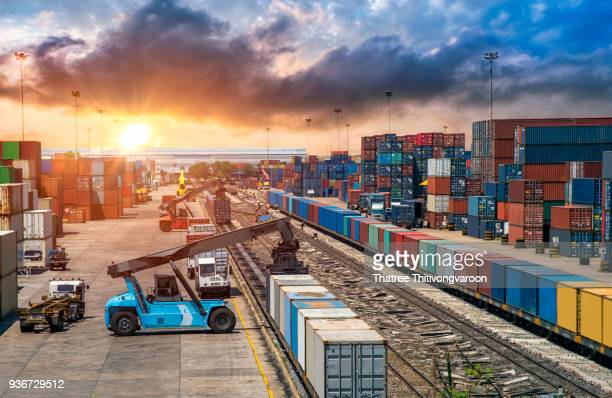 business logistics and transportation concept, of container cargo train and truck for logistic import export and transport industry background - rail transportation stock pictures, royalty-free photos & images