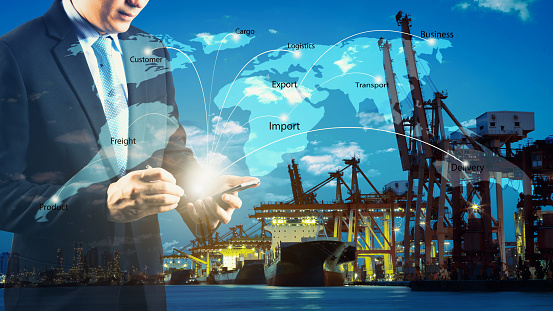 Business Logistics concept, Global business connection technology interface global partner connection of Container Cargo freight ship for Logistic Import Export internet of things - gettyimageskorea