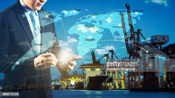 Business Logistics concept, Global business connection technology interface global partner connection of Container Cargo freight ship for Logistic Import Export internet of things