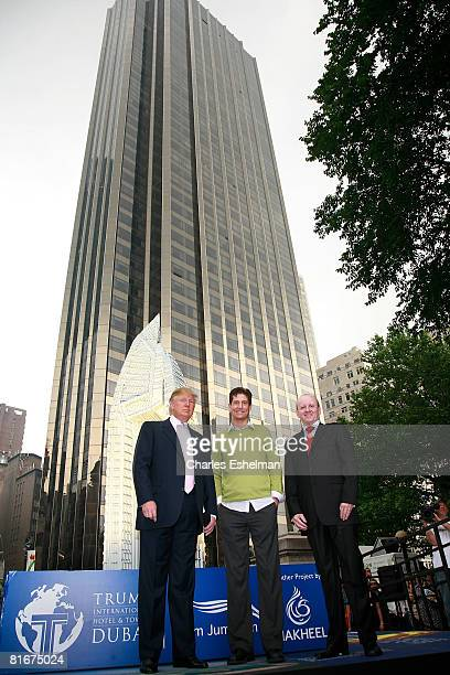 Business magnate Donald Trump Lego artist Nathan Sawaya and Nakheel CEO Chris O'Donnell attend the debut of a Lego replica of the Trump International...