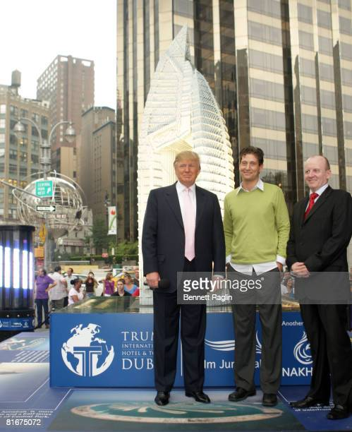 Business magnate Donald Trump Lego master builder Nathan Sawaya and CEO of Nakheel Chris O'Donnell attend the debut of a 14foot Lego replica of Trump...