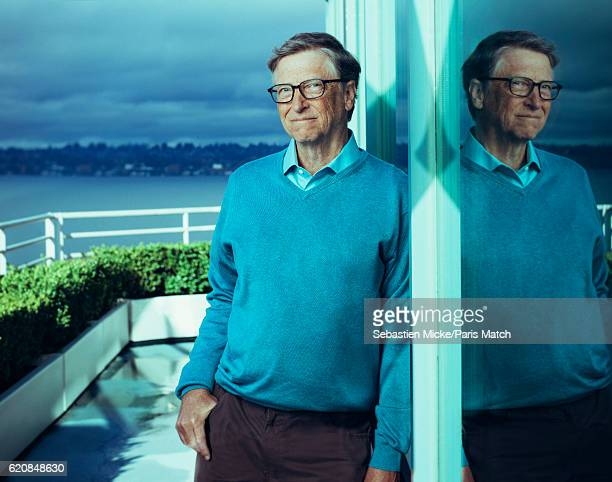 Business magnate investor author and philanthropist is photographed Bill Gates for Paris Match on March 20 2016 in Seattle Washington