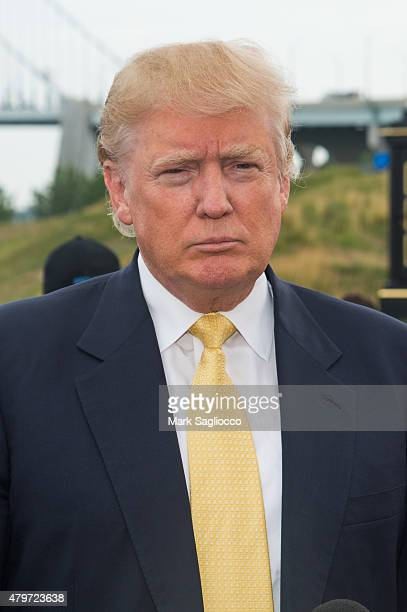 Business Magnate / Presidential Candidate Donald Trump attends the 2015 Hank's Yanks Golf Classic at the Trump Golf Links Ferry Point on July 6 2015...