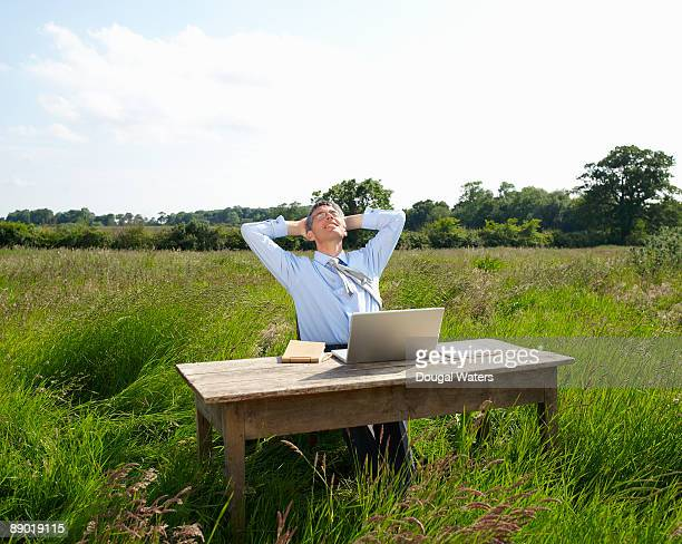 Business man at desk in countryside.