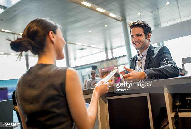 Business man doing check-in