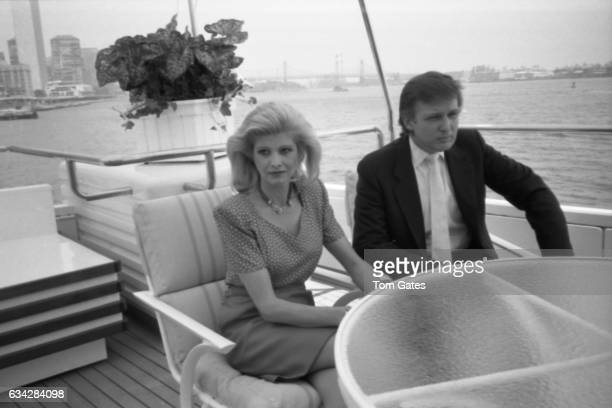 Business man Donald Trump and his wife Ivana Trump introduce the press to preview the recently refurbished 300 foot yacht The Trump Princess which he...
