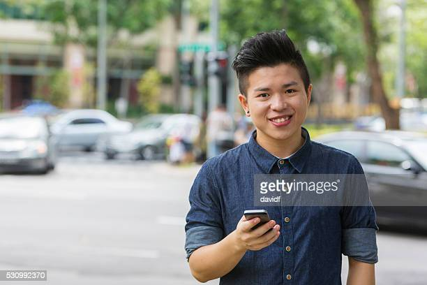Business Man Getting a Ride Sharing Service with Mobile Phone