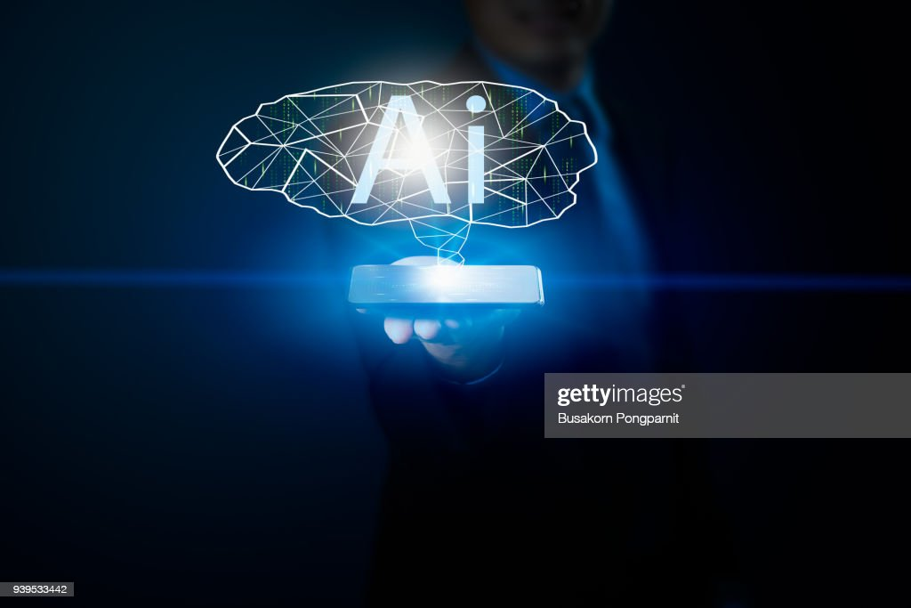 Business man hand holding smartphone and Artificial intelligence data system software, genetic programming : Stock Photo