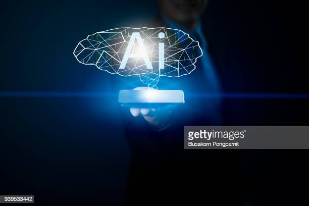 Business man hand holding smartphone and Artificial intelligence data system software, genetic programming