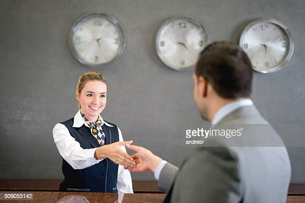 Business man handshaking manager at the hotel