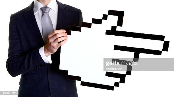 business man holding a giant cursor finger - cursor stock pictures, royalty-free photos & images