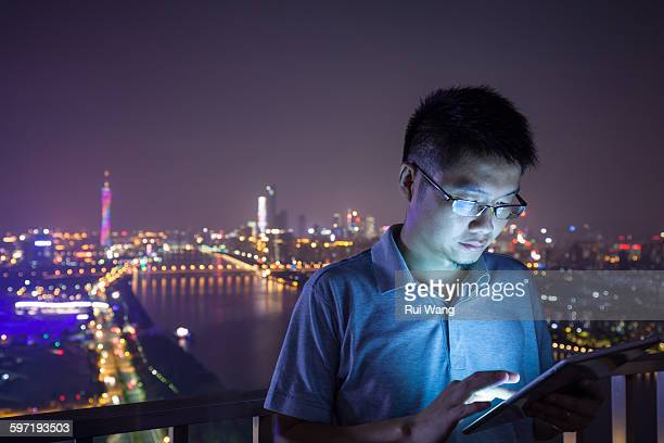 Business Man Holding Digital Tablet Outdoors