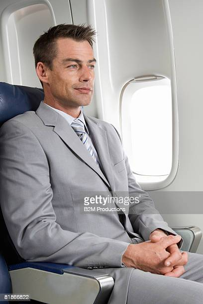 Business man in airplane