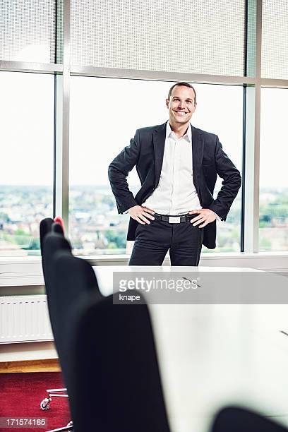 Business man in board room