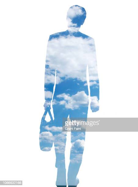 business man in cloud field. - image stock pictures, royalty-free photos & images