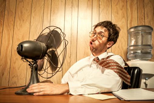 Business Man in Office With Fan 155445458