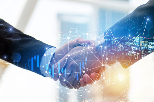 business man investor handshake with global network link connection and graph chart stock market diagram and city background, digital technology, internet communication, teamwork, partnership concept 1159401925